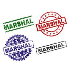 Scratched textured marshal stamp seals vector