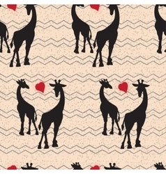 Seamless vintage pattern with giraffe vector