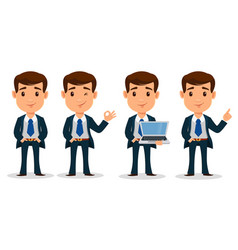 set of business man cartoon character in smart vector image