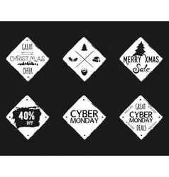 Set of Christmas cyber monday sale ink vector
