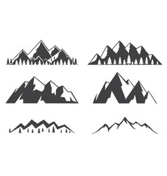 set of mountains icons isolated on white vector image