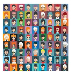set people icons in flat style with faces 21 b vector image