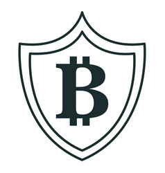 shield with bitcoin symbol vector image