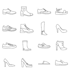 Shoe icons set in outline style vector image