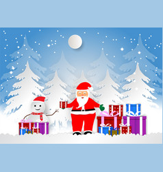 snowflake with santa and gift boxes for christmas vector image
