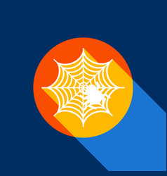 spider on web white icon on vector image