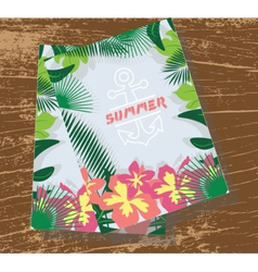 Summer card with tropic flowers vector image