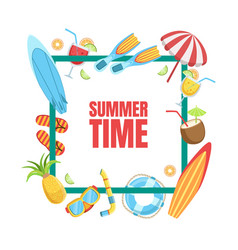Summer time banner template with tropical beach vector