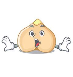 Surprised chickpeas mascot cartoon style vector