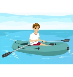 teenager boy in rubber boat vector image vector image