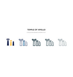 Temple apollo icon in different style two vector