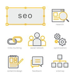 Thin line icons set Search Engine Optimization vector