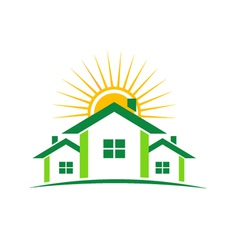 three houses and sun vector image vector image