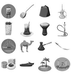 Turkey icons set gray monochrome style vector