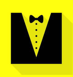 Tuxedo with bow silhouette black icon with flat vector
