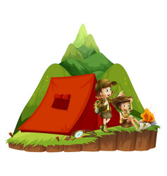two kids camping out in the mountain vector image