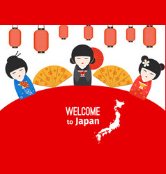 welcome to japan poster design vector image
