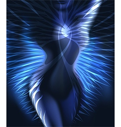 Winged body in blue vector