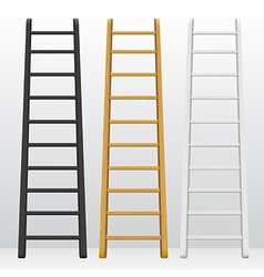 Wooden step ladders set different colors vector
