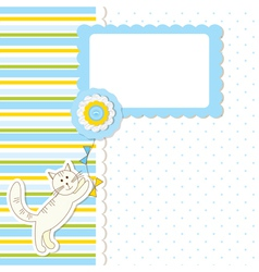 Baby shower with cat vector image vector image