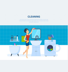 housewife in bathroom is engaged in cleaning vector image