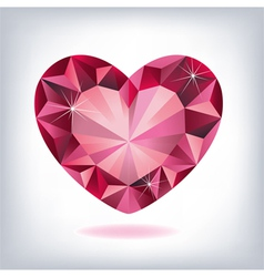 ruby heart-shaped vector image vector image