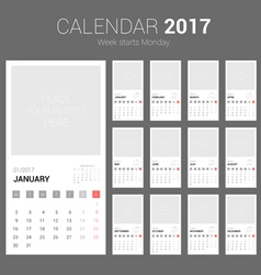 2017 Calendar Planner Design with Space vector image vector image