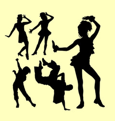 attraction dancing male and female silhouette vector image vector image