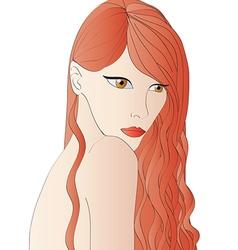 Beautiful red hair woman vector image vector image