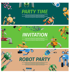 bright invitation to robot party time vector image