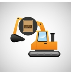 excavator machine concrete graphic vector image