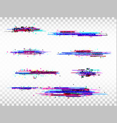 glitch color elements set digital noise abstract vector image vector image