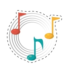 note musical melody sound dotted line vector image vector image