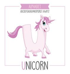 alphabet letter u and unicorn vector image