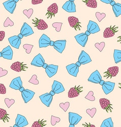 Beautiful seamless pattern with bows and hearts vector image vector image