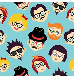 Colorful vintage hipsters faces seamless pattern vector image vector image