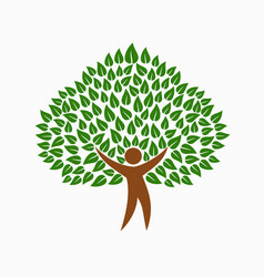 green environment people tree concept symbol vector image vector image