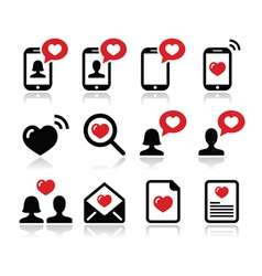 Love Valentines Day icons set vector image vector image
