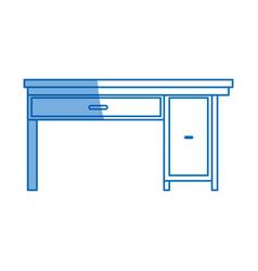office desk work furniture wooden design vector image