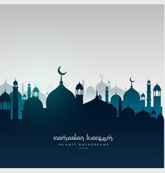 Ramadan kareem greeting card with mosques vector