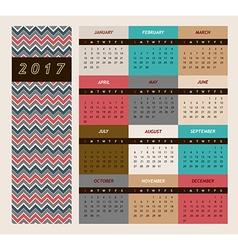 Simple 2017 calendar Week vector image