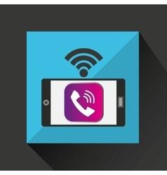 smartphone call talk internet wifi icon vector image