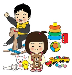boy and girl play toy vector image vector image