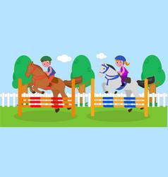 children horse jumping vector image