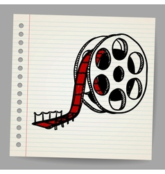 Cinema film roll and red carpet vector image vector image