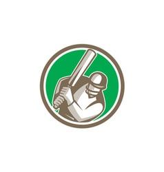 Cricket Player Batsman Batting Circle Retro vector image