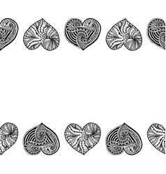 decorative horizontal border from black hearts vector image vector image
