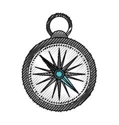 Scribble compass cartoon vector