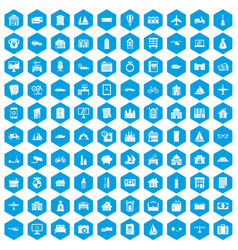 100 property icons set blue vector image