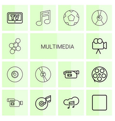 14 multimedia icons vector image